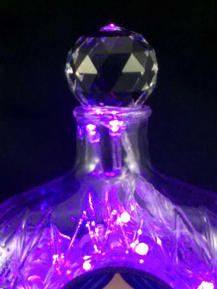 foto de Crown Royal Liquor Bottle Light Purple LED's The Bottle Upcycler