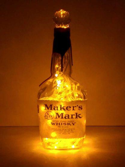 Maker's Mark Whisky Bottle Lamp with Gold LED's