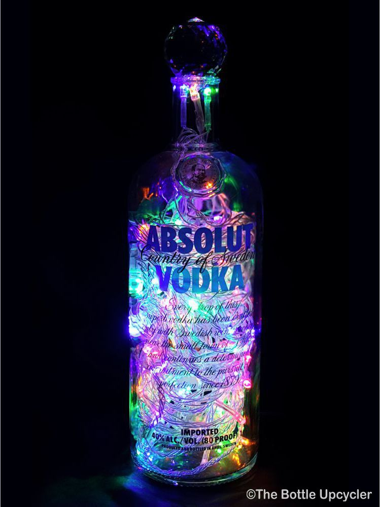 absolut vodka liquor bottle light the bottle upcycler. Black Bedroom Furniture Sets. Home Design Ideas