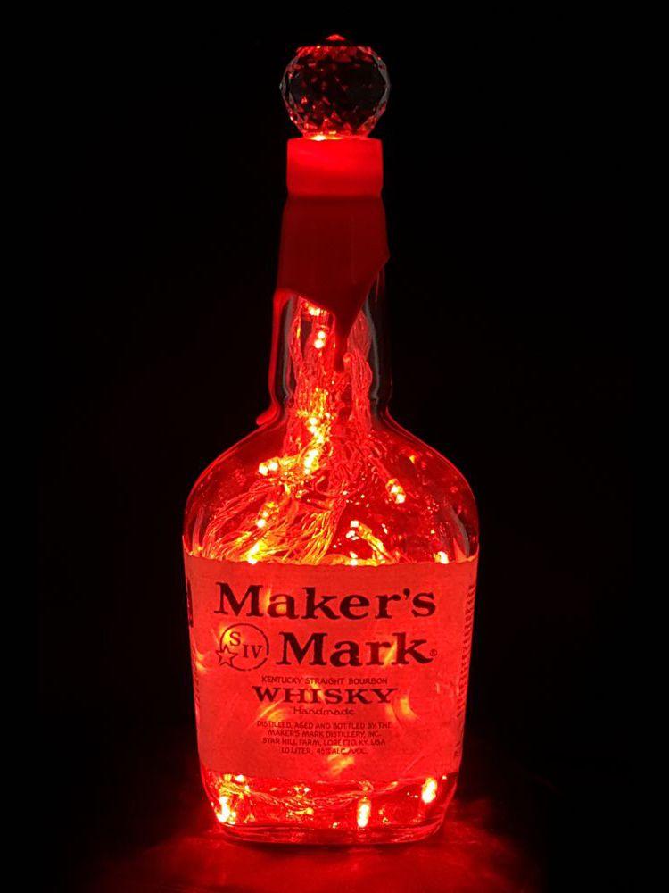 Makers Mark Bourbon Whiskey Empty Liquor Bottle Lamp Color Changing LED