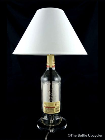 All Lit Up Captain Morgan Liquor Bottle Lamp with Lamp Shade - Back