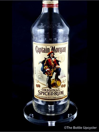 All Lit Up Captain Morgan Liquor Bottle Lamp with Acrylic Base