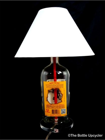 All Lit Up Fireball Liquor Bottle Lamp with Lamp Shade - Back