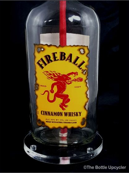 All Lit Up Fireball Liquor Bottle Lamp with Acrylic Base