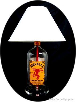 All Lit Up Fireball Liquor Bottle Lamp with Lamp Shade