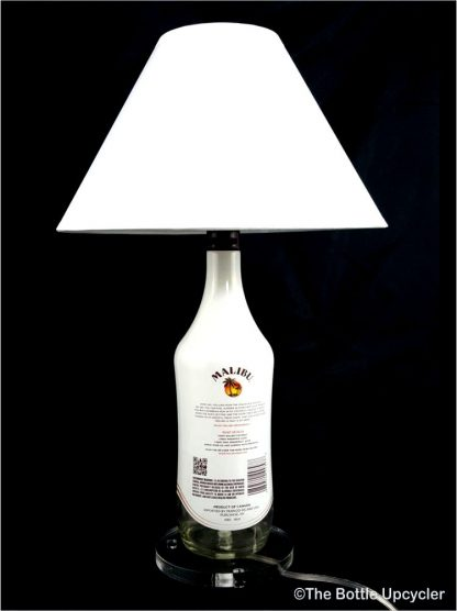 All Lit Up Malibu Rum Liquor Bottle Lamp with Lamp Shade - Back