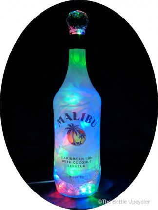 Upcycled Malibu Rum Mood Therapy Liquor Bottle Light
